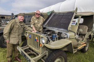 Dave Chadwich and Malcolm Smith with WW2 Wilys Jeep